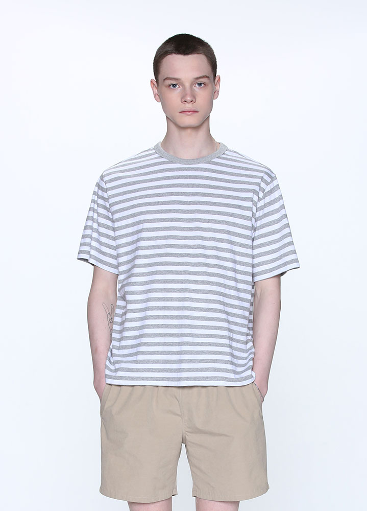BLOCK STRIPE TSHIRT[GREY]