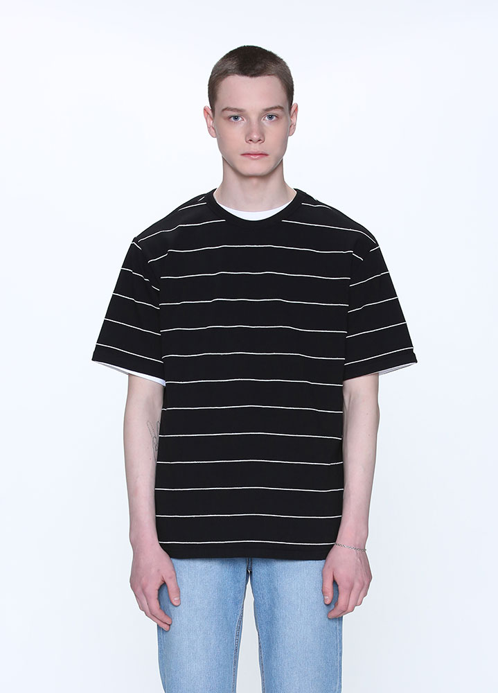 PIN STRIPE TSHIRT[BLACK]