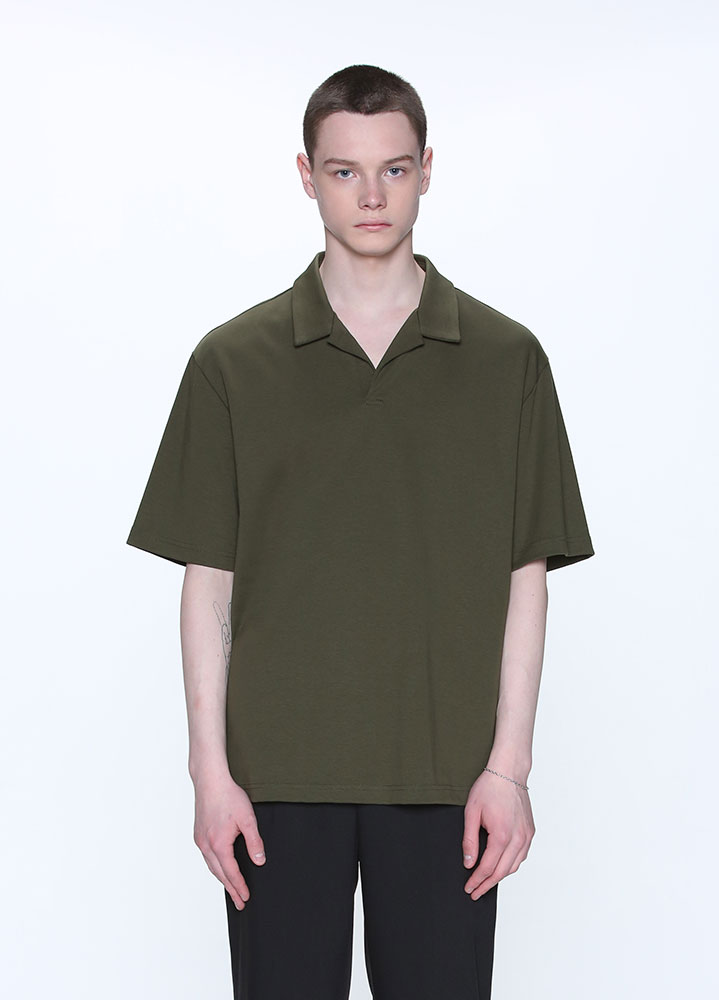 OPEN COLLAR TSHIRT[DEEP GREEN]