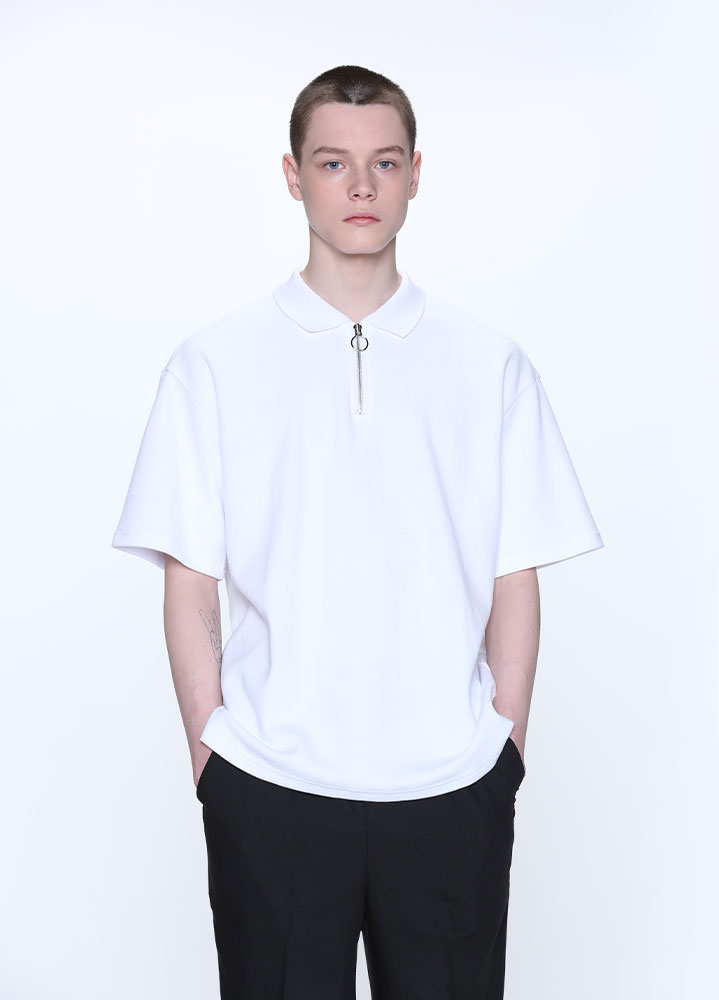 HALF ZIP COLLAR TSHIRT[WHITE]