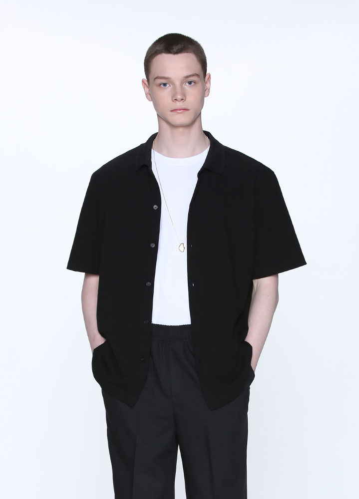 BUTTON COLLAR SHIRT[BLACK]