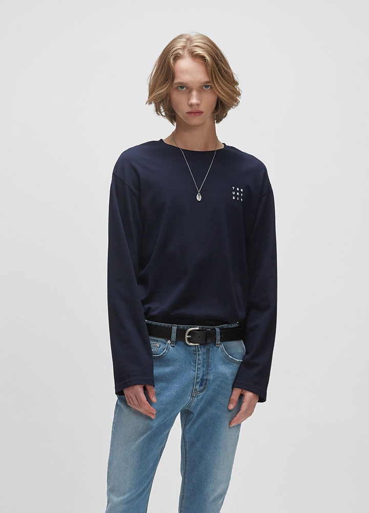 REVERSE LOGO LONG TEE[NAVY]