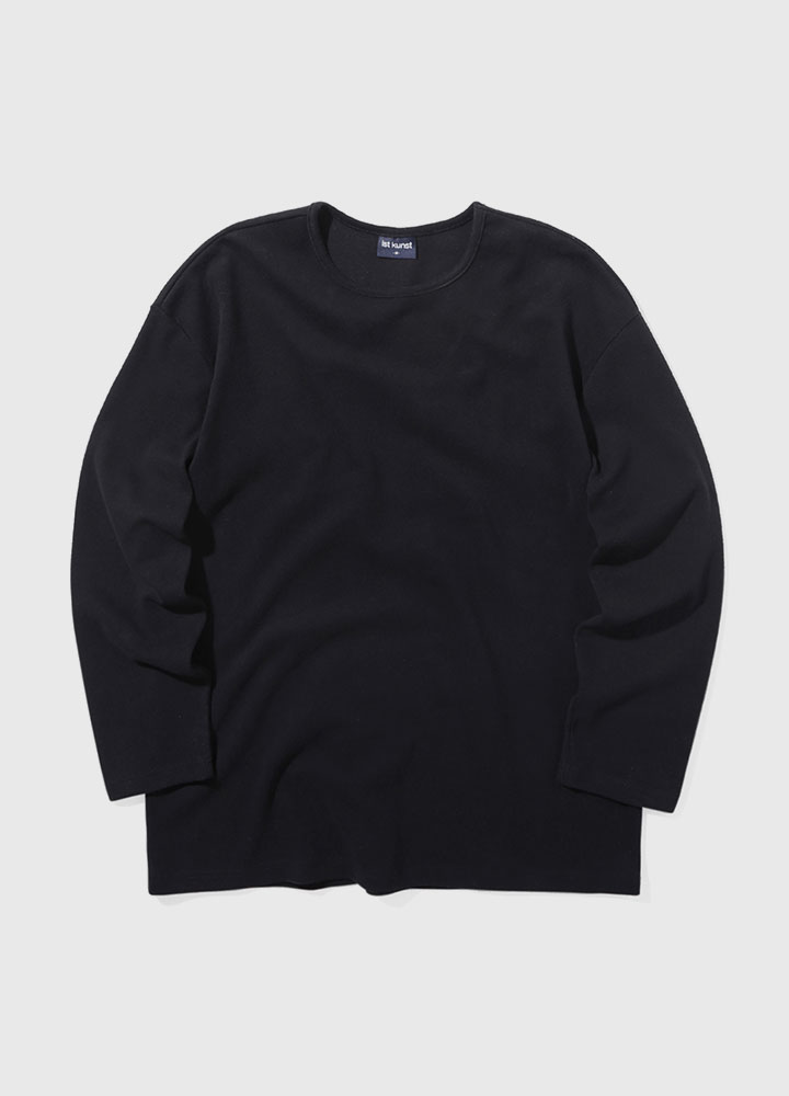 KNIT ROUNDNECK LONG TEE[BLACK]