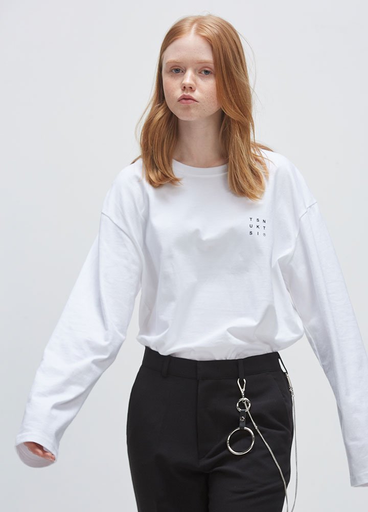REVERSE LOGO LONG TEE[WHITE]