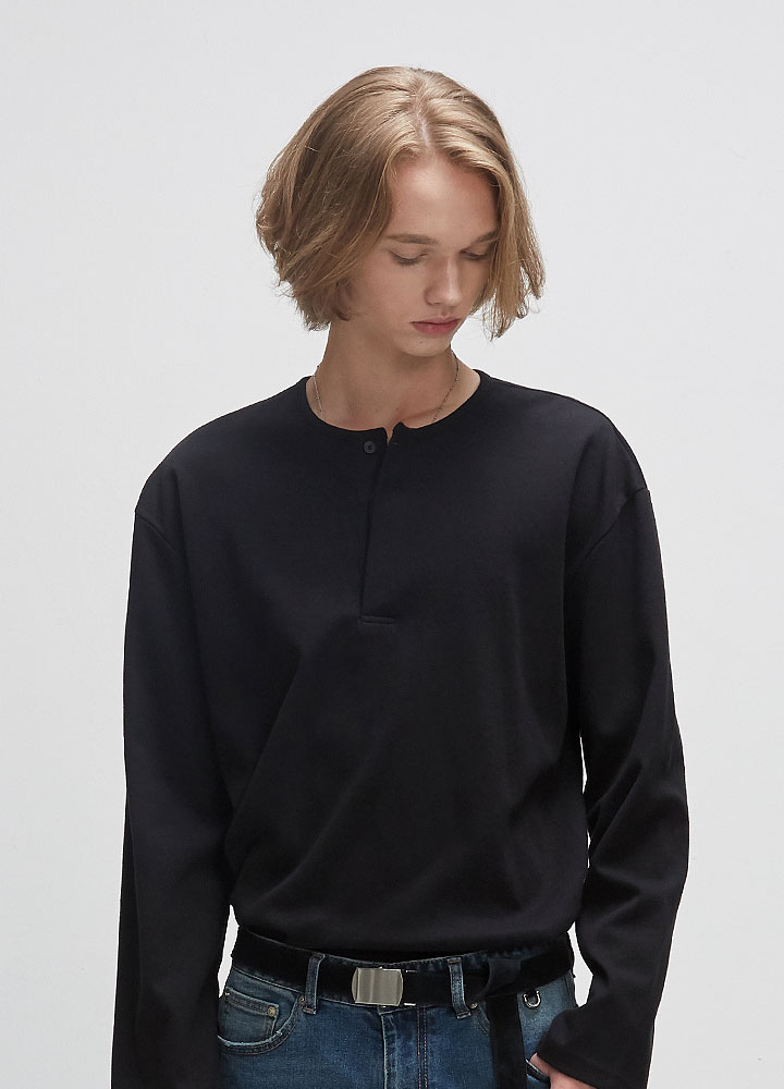 HENLYNECK LONG TEE[BLACK]