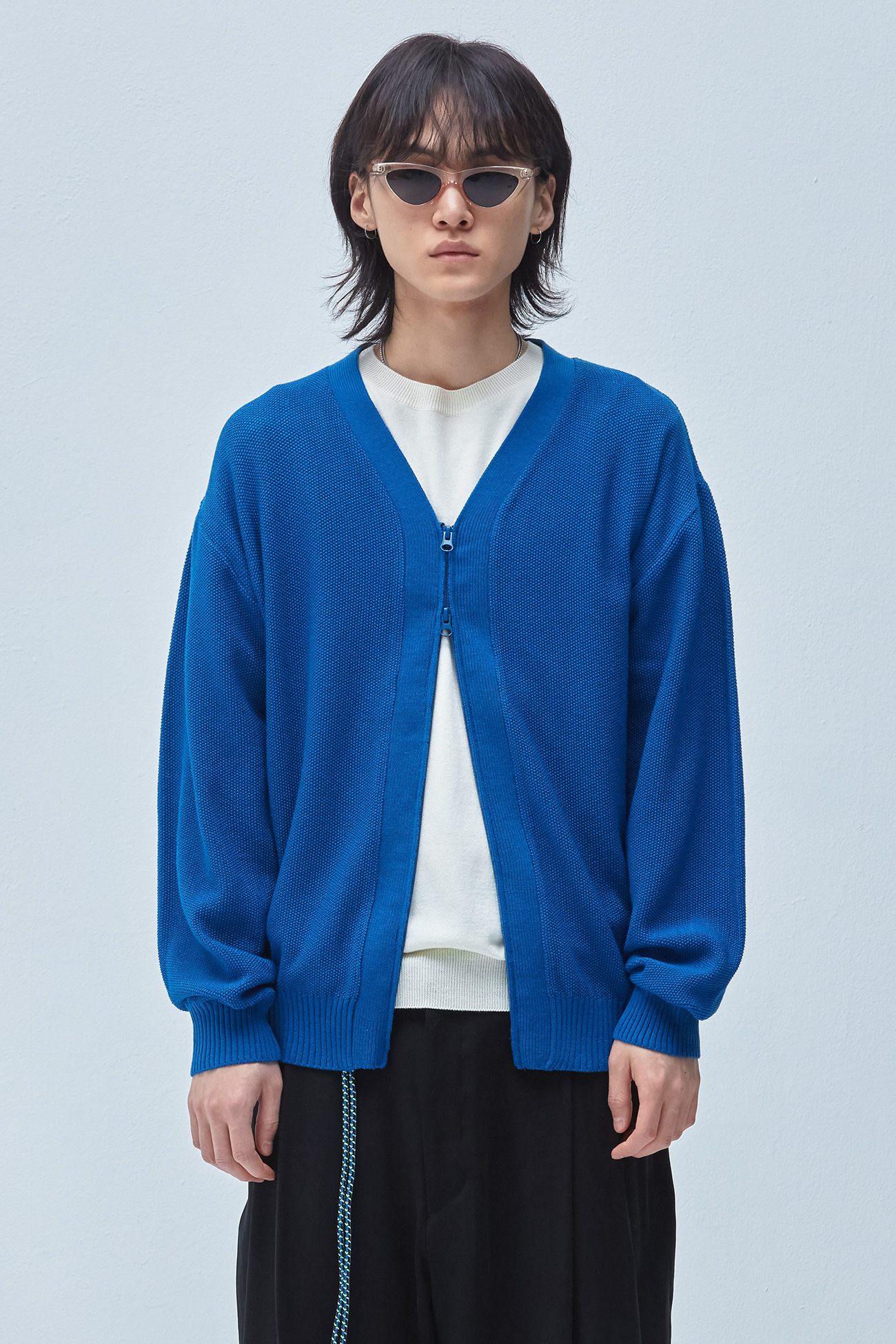 KNIT ZIPPERED CARDIGAN[BLUE]