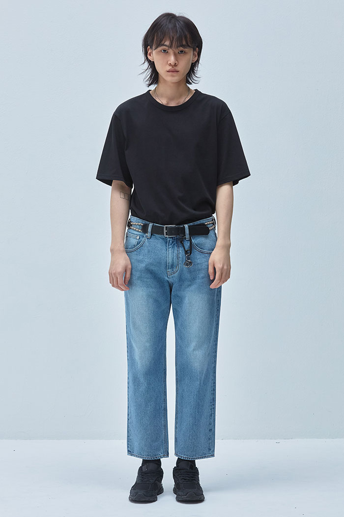 LIGHT WASHING WIDE CROP JEANS[연청]