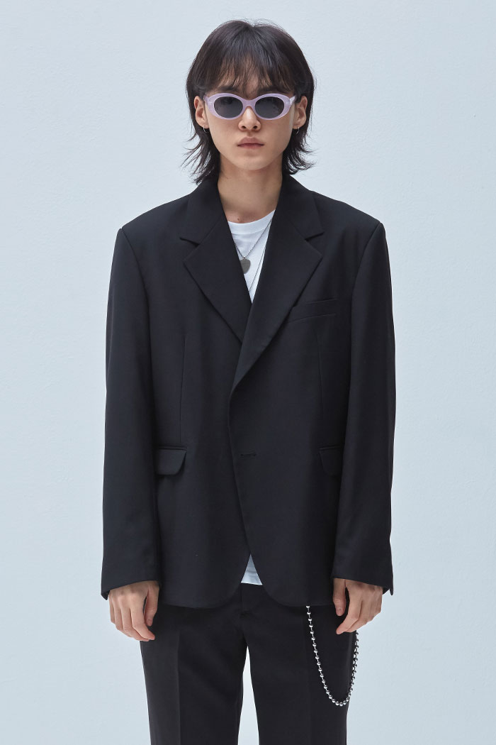 BUTTON SINGLE JACKET[BLACK]