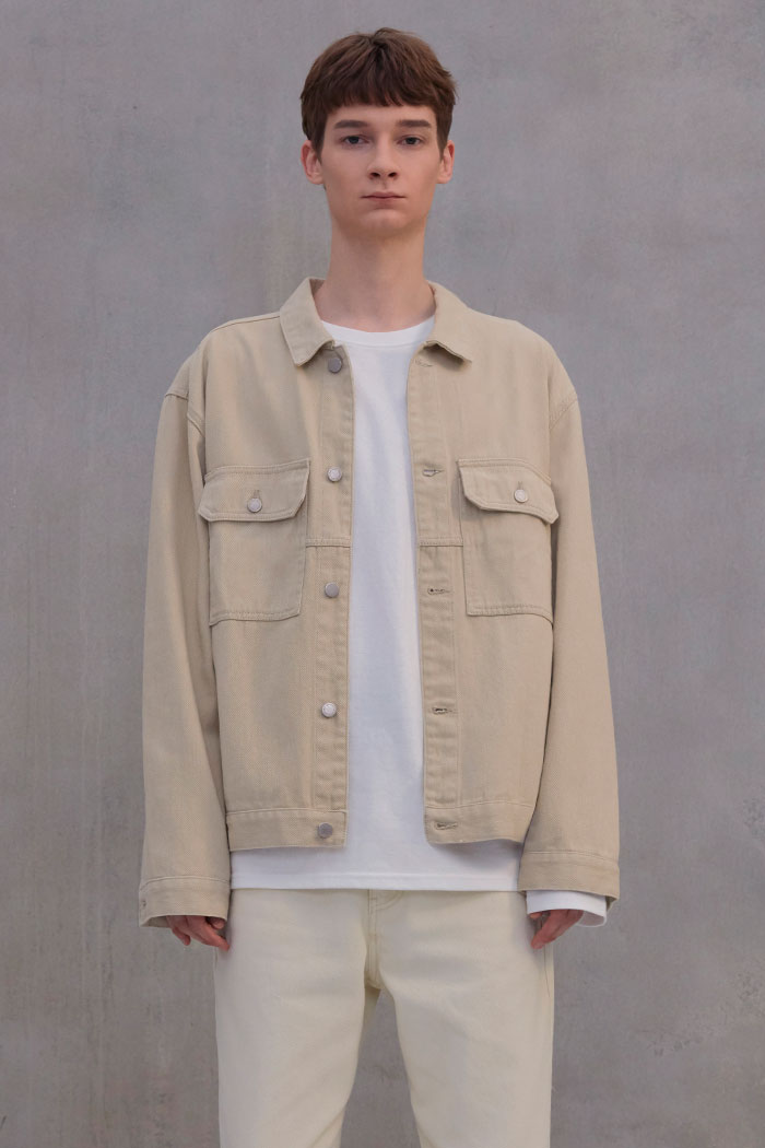 COTTON TRUCKER JACKET[BEIGE]