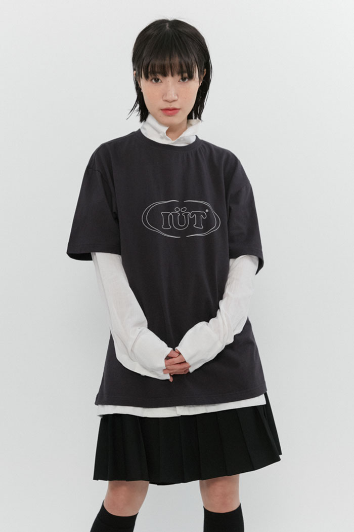 OUTLINE OVAL LOGO TEE[CHARCOAL]