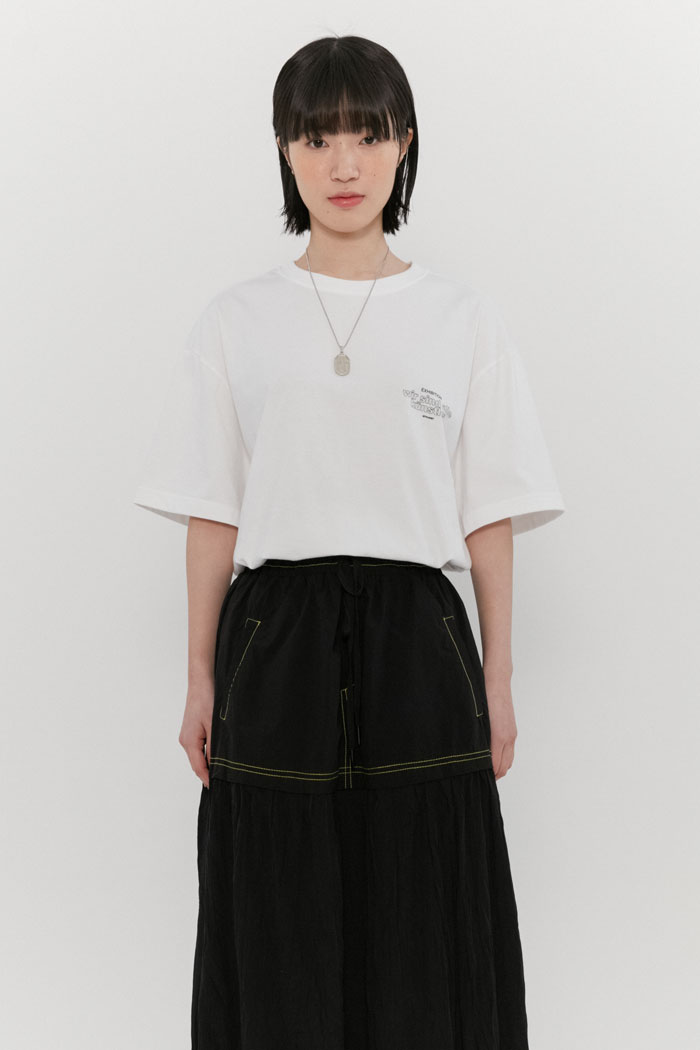 OUT LINE SLOGAN TEE[WHITE]