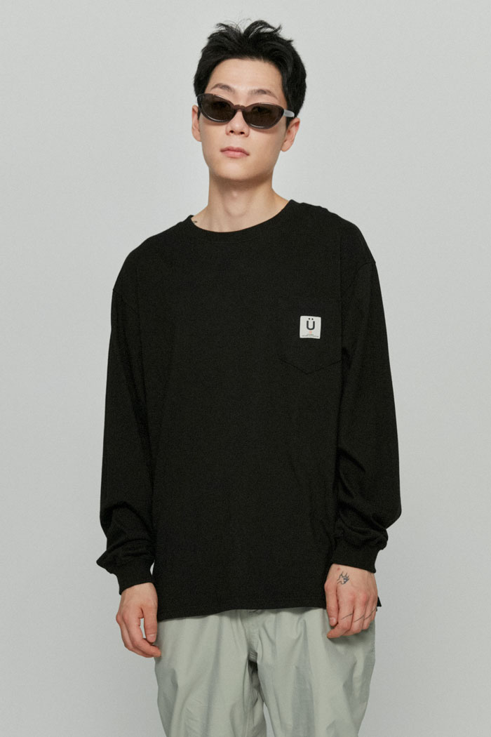 LABEL POCKET L/S TEE[BLACK]
