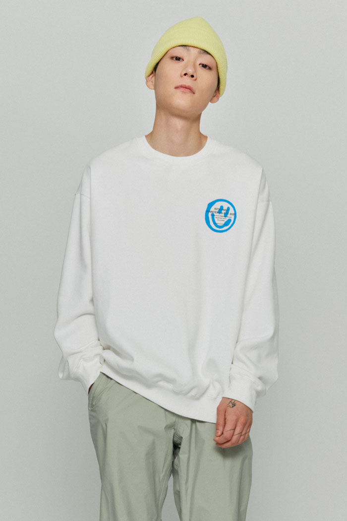 LOGO&SMILEY SWEATSHIRTS[WHITE]