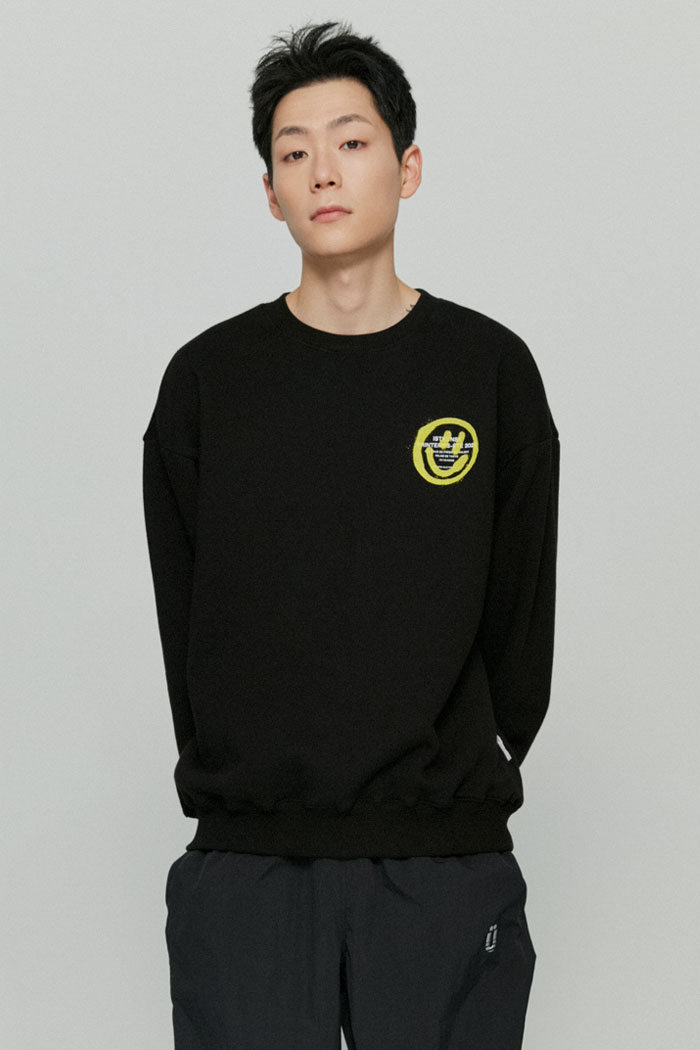 LOGO&SMILEY SWEATSHIRTS[BLACK]