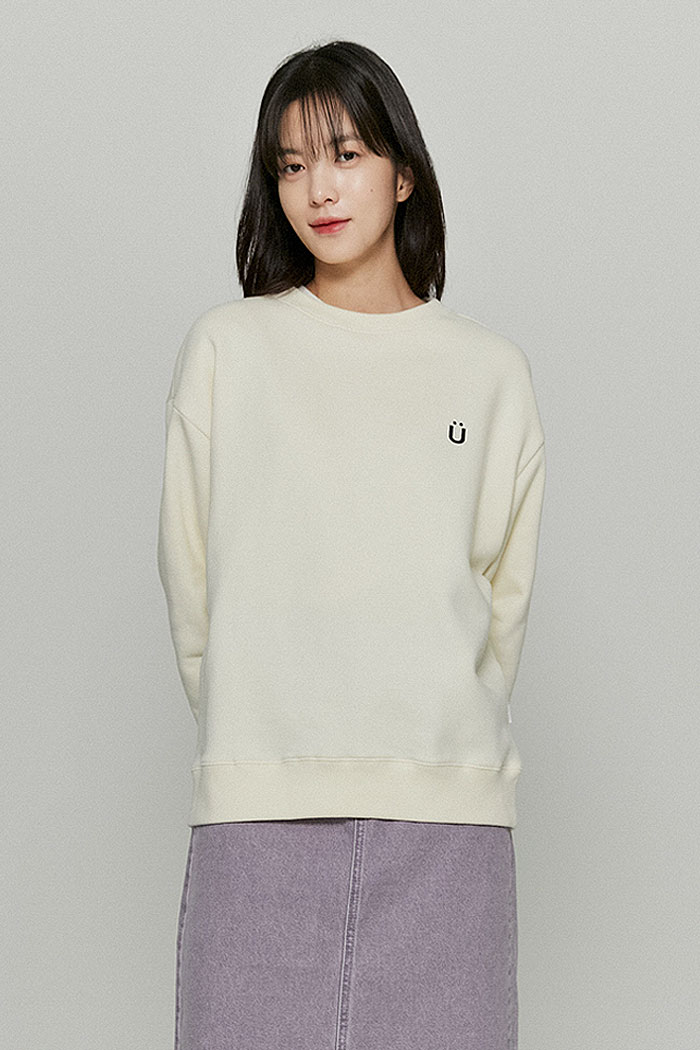U LOGO SWEATSHIRTS[CREAM]