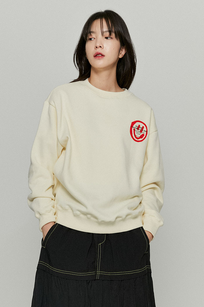 LOGO&SMILEY SWEATSHIRTS[CREAM]