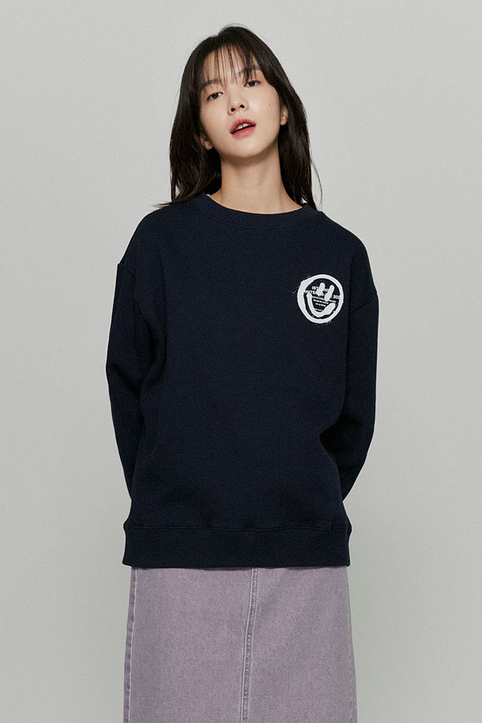 LOGO&SMILEY SWEATSHIRTS[NAVY]