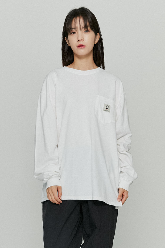 LABEL POCKET L/S TEE[WHITE]