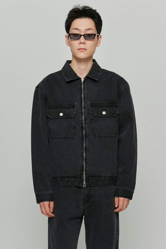 UTILITY SLUB DENIM JACKET[GREY]